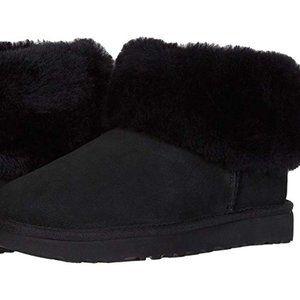 UGG Classic Black Mini Fluff Ankle Booties NIB